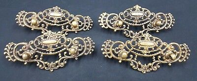 Architectural Salvage Victorian Ornate Brass Filigree Wide Drawer Pulls Set of 4