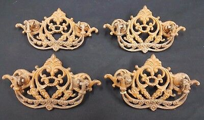 Architectural Salvage Ornate Victorian Filigree Brass Drawer Pulls Set of 4