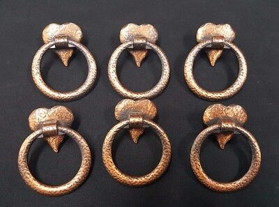 Architectural Salvage Brass Round Drawer Pull Handles With Heart Shapes Set of 6
