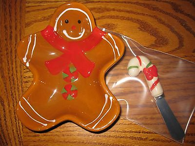 Christmas Holiday Gingerbread Man ceramic bowl with Candy Cane spreader
