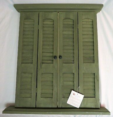 Vintage Sage Green Window Mirror With Shutters Wall Hanging Home Interiors NWT