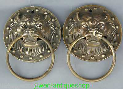 Chinese Copper Foo Dog Lion Head Guardion Evil Spirits Door Knocker Gate Pair
