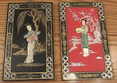 2 vintage Chinese hard stone inlaid panels women carved color inlay 7x12 geisha