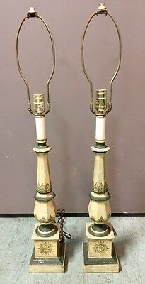 Vintage Pair Of Tyndale Decorated Metal Tole Toleware Lamps