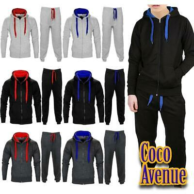 New Boys Kids Contrast Drawcord Fleece Hooded Tracksuit Top Bottom Jogging Suit