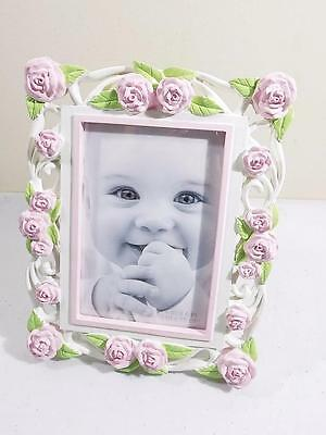 "First Impressions Girl's Pink Flowers Baby Picture Frame 4"" X 6"" NIB"