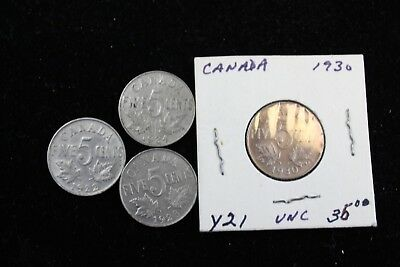 Canada 4 coins  5 cents coins (includes 1930  KM 29) lot H 430
