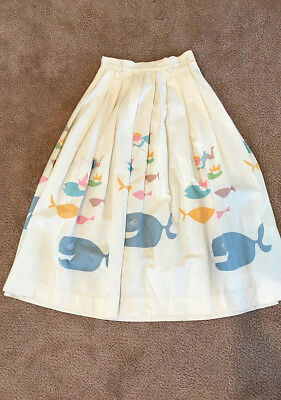 Vintage 1950's Whale and Fisherman Novelty Print Skirt