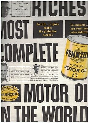 1961 Pennzoil The Tough Film Motor Oil With Z-7 Ad - Richest Most Complete Oil