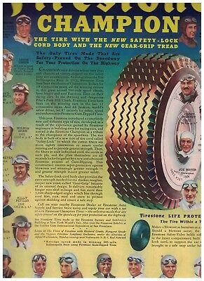1939 Firestone Champion Tires Ad With Faces Of Famous Speed Record Holders