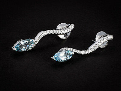 "Damiani ""Serpent"" 18K WG Earrings with Large Pave Diamonds and Blue  Aquamarines"