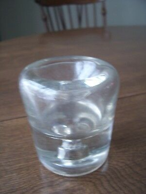 Antique Vintage Clear Glass Round Inkwell