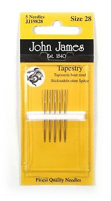 John James Tapestry Needles 28 Blunt Point for Canvas Set of 5