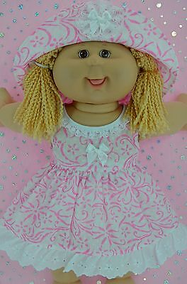 """Play n Wear Doll Clothes To Fit 16"""" Cabbage Patch WHITE/PINK FLOWER DRESS~HAT"""