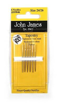 John James Tapestry Needles 24/26 Blunt Point for Canvas Set of 3 Each