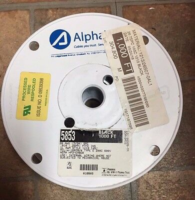 AlphaWire 26 AWG Black - New 1000' Spool  (304.8 Meters) - Part # 5853
