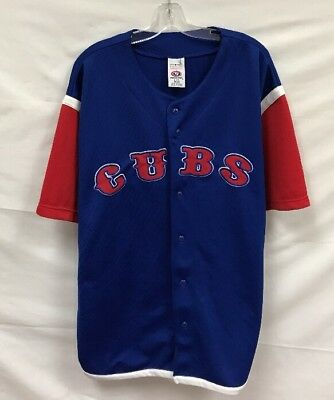 4ac9d205839 CHICAGO CUBS TRUE Fan Sz L Baseball Jersey Genuine MLB Blue Red ...