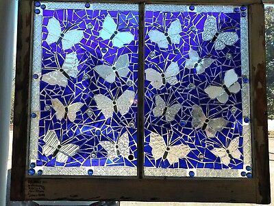 Blue Butterfly Stained Glass older vintage Window