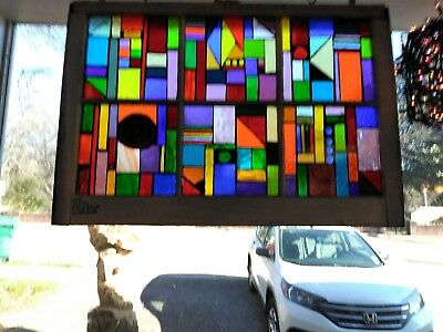 Very Colorful Abstract Stained and Leaded Older Glass window
