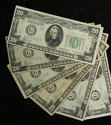 Six 1934 $20 Federal Reserve Notes - Series A (3), Series B, D, G