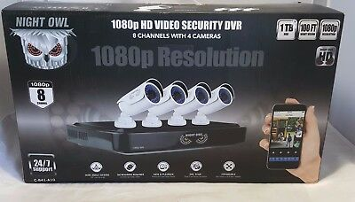 NIGHT OWL A10 Series 8 Channel 1080P DVR Security System 4 HD 1080p Cameras 1 TB