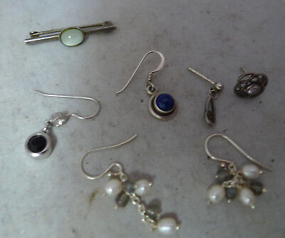 Mixed Lot Of Silver Earrings & Brooch A602017