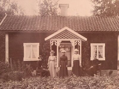 Antique Original Photograph Women in Hats Posing in Front of House 12 x 9.25