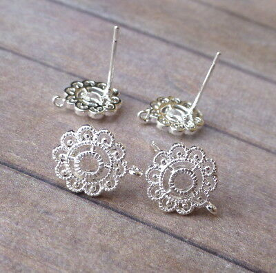 Pack of 10 Silver Plated Filigree Flower Ear Studs Earring Components