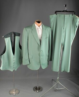 Vtg Men's 1970s Sears Green Polyester Leisure Suit Jacket sz XL or 2XL 70s #4457