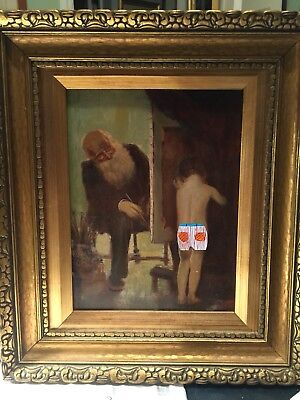 Late 19th/Early 20th c. Artist and Child Model Portrait Oil on Board