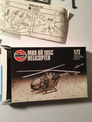 Vintage 1982  Mbb Bo 105C Helicopter Model - 1:72 Scale