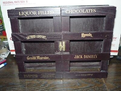 BOX ONLY  VerySpecial Liquor Filled Chocolates  open Wooden Crate Box 10.25x8x3""