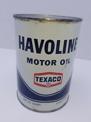 Vintage Texaco Havoline Motor Oil can 1 Qt full SAE 30 HD metal can
