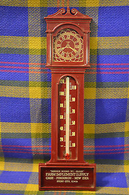 Vintage Maroon Plastic Advertising Thermometer- Case, Ferguson, New Idea Working