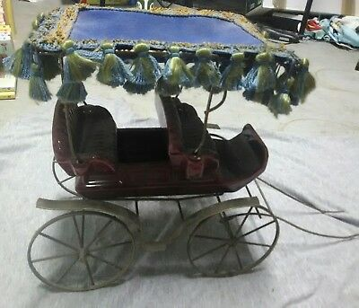 VINTAGE METLOX POPPYTRAIL POTTERY SURRY CARRIAGE frill fabric covered top rare