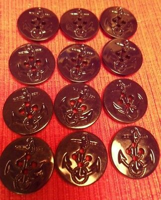 12 BLACK PEACOAT NAVY ANCHOR STYLE Buttons 1 1/4 IN 4 HOLE NEW  FREE US SHIP