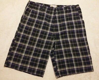 SZ 50 SEVEN SOULS Men's Shorts BLUE PLAID Big and Tall MENS COTTON BLEND Pants
