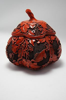 Vintage Chinese Carved Cinnabar Melon Shape  Box With Lid