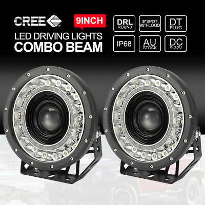 Pair 9 inch CREE SPOT LED Driving Lights 4x4 Round Spotlights BLACK With DRL