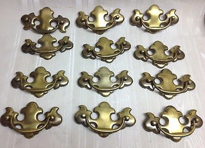 "Lot/12-Vintage Brass Batwing Drawer Pulls, 3.50"" Mounting Holes"