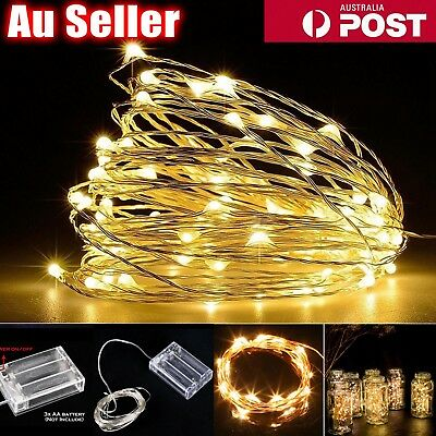 4PCS 2-10M Battery Operated Copper Wire String Fairy Xmas Party Lights WarmWhite