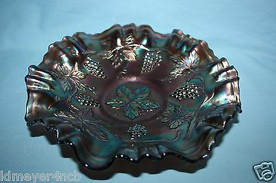 Northwood Blue Grape Carnival Glass Bowl
