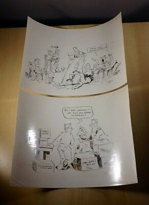 World War Two WWII ETO US Army Cartoon Sketches 1945 European Theatre Drawings