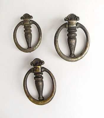 Lot of Three Vintage Drop Hoop Ring Drawer Pulls Shabby and Worn , Steampunk