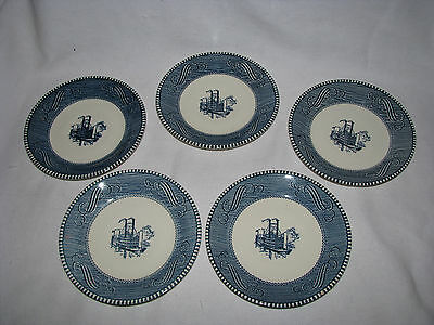 VTG Group of Five Retro Blue & White Currier & Ives Saucers