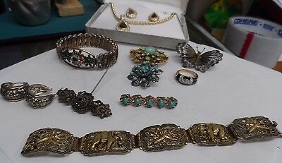 Large Lot Of Antique Costume Jewelry Inc. 2 Bracelets, Pair Of Earrings, 3 Pins