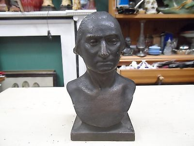 Turn Of The Century Solid Cast Iron Bust George Washington