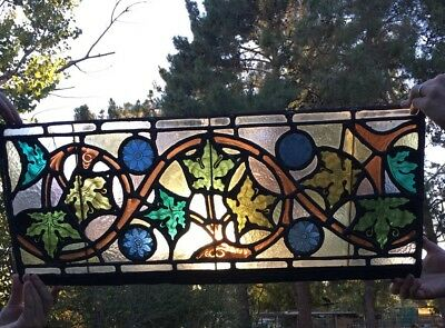 Stunning Manhattan Historic Antique Empire Tudor Floral Stained Glass Window