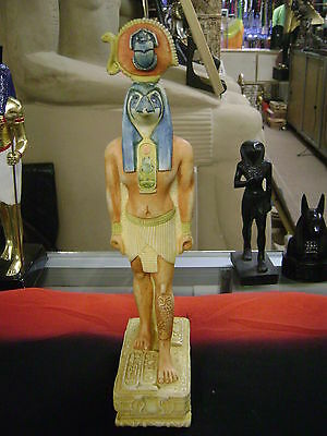 Egyptian God Horus Statue Original Museum colors Hand Carved 1981 Made in Egypt