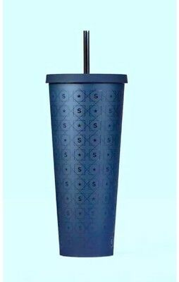 STARBUCKS COLD CUP - Straw Cup- Matte Navy Blue S/star PATTERN TUMBLER 24 fl oz